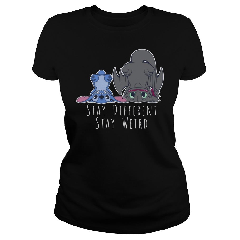 Stitch And Toothless Stay Different Stay Weird Ladies tee
