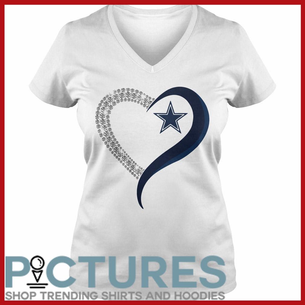 Dallas Cowboys in diamond heart V-neck