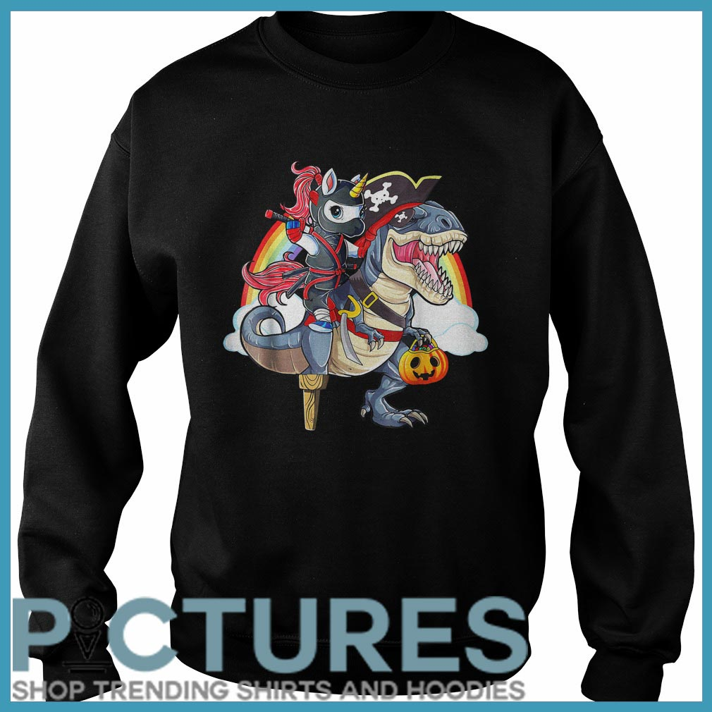Ninja Unicorn Riding Dinosaur Halloween Sweater