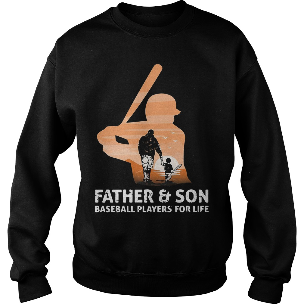 Father and son baseball players for life sweater