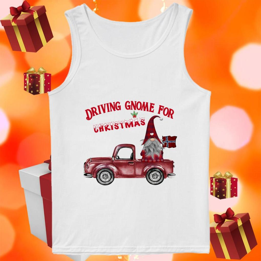 DRIVING GNOME FOR CHRISTMAS NORWEGIAN tank top
