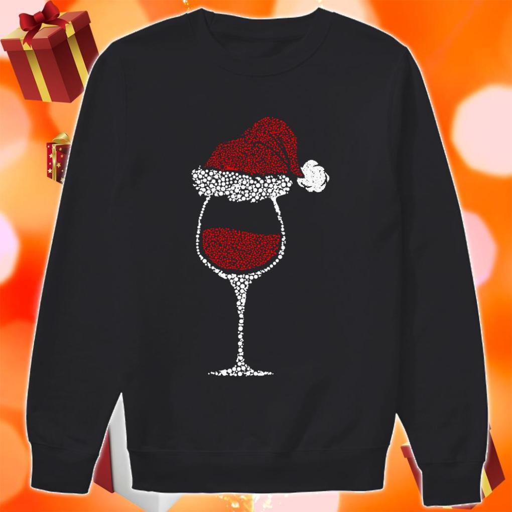 Glass of wine Santa hat Christmas sweater