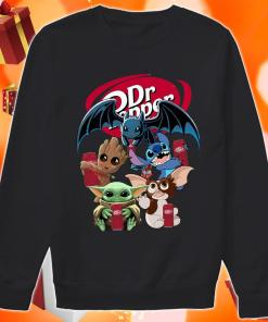 Baby Yoda Baby Groot and Toothless Stitch Gizmo hug Dr Pepper sweater