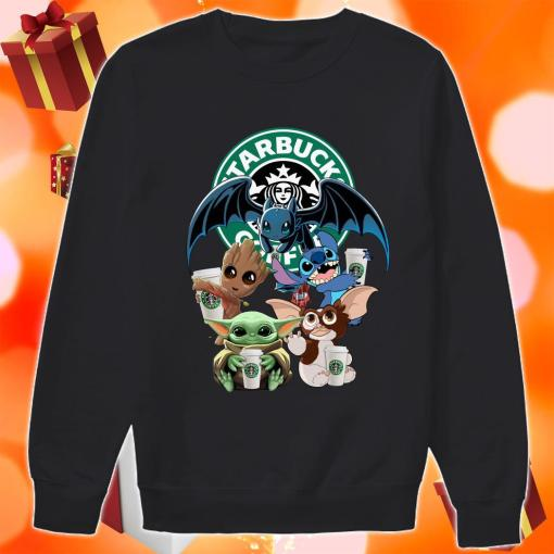 Baby Yoda Baby Groot and Toothless Stitch Gizmo hug Starbucks Coffee sweater