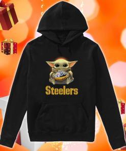 Baby Yoda hug Pittsburgh Steelers hoodie