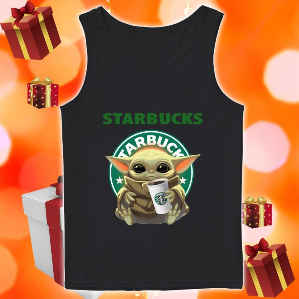 Baby Yoda hug Starbucks Coffee tank top