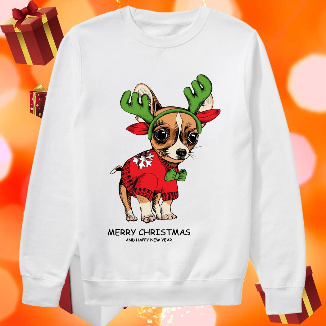 Chihuahua Reindeer Merry Christmas and Happy New Year sweater