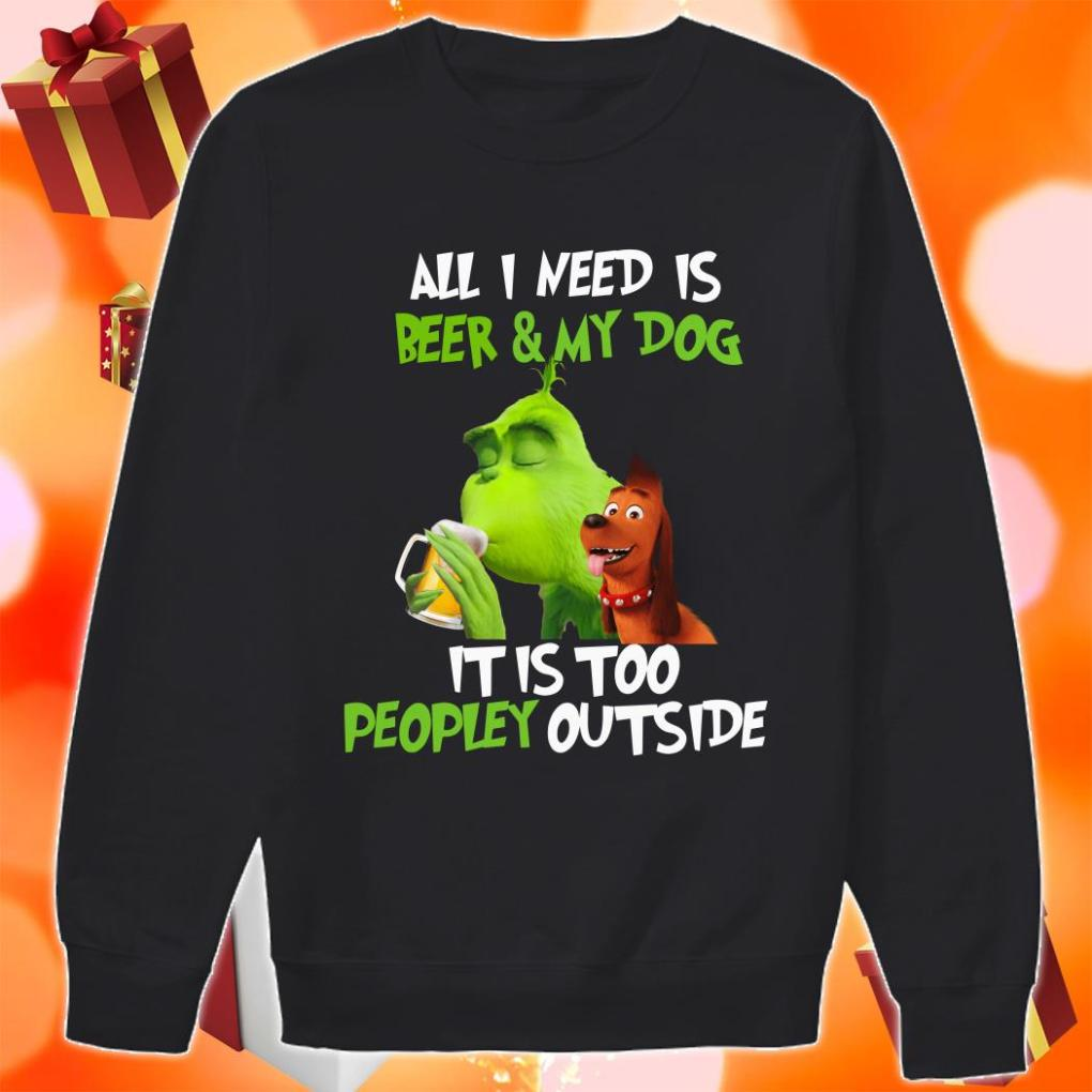Grinch All I need is Beer and My cat it is too peopley outside shirt 1 Picturestees Clothing - T Shirt Printing on Demand