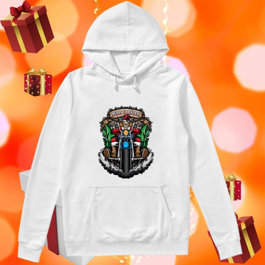 Skeleton Santa Claus biker Merry Christmas hoodie