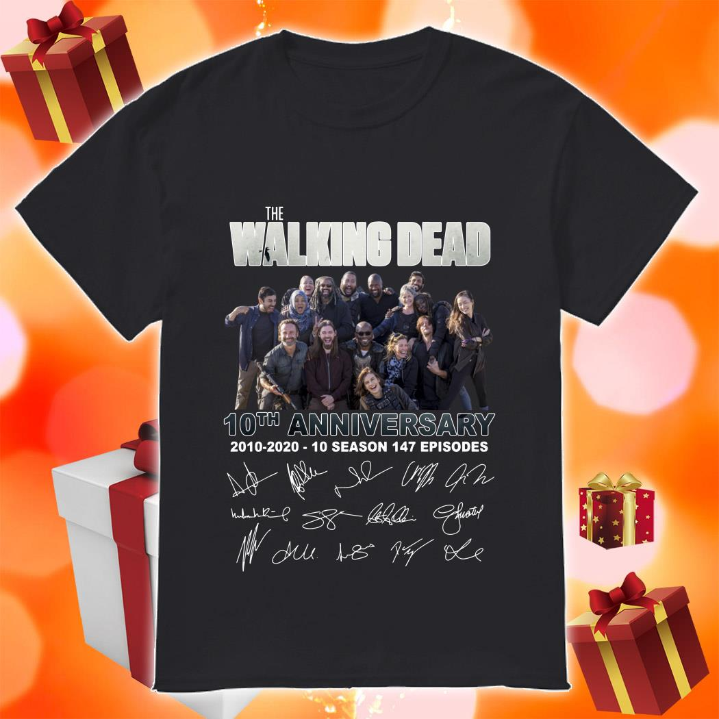 The Walking Dead 10th anniversary 2010 2020 signatures shirt