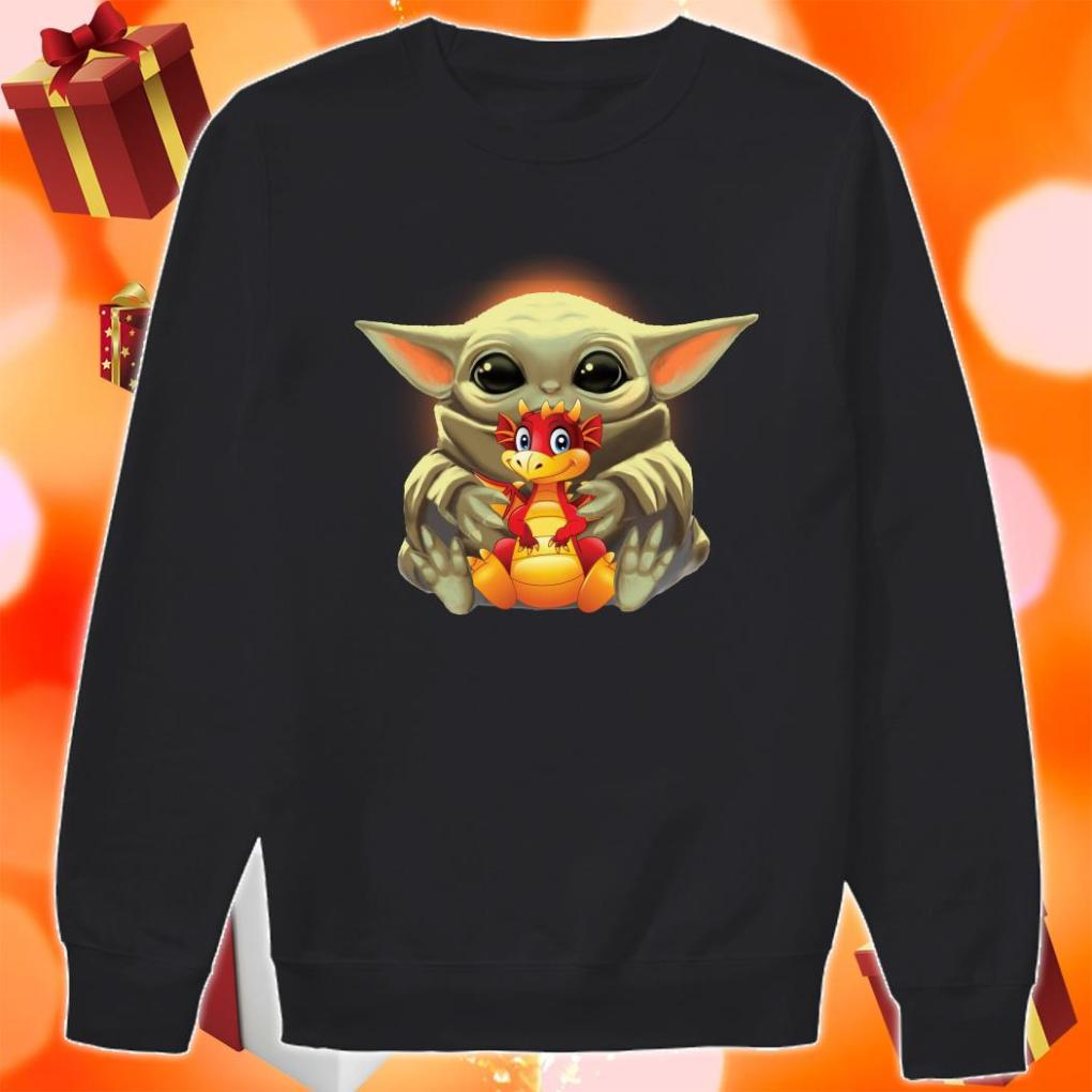 Baby Yoda hug Dragon sweater