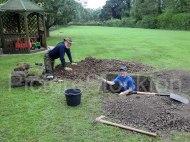 """Back garden of """"Kirklands"""" Gordon Ford volunteer, Arlene Ellis"""
