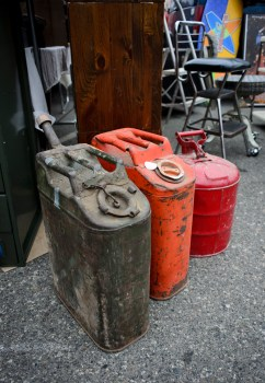 Old gas cans. Loved the colors.