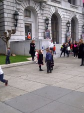 Children on a field trip to the San Francisco Memorial Opera House.