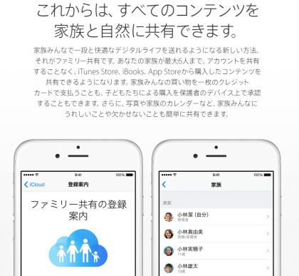 iOS8 のファミリー共有機能