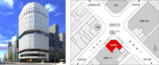 「GINZA PLACE」地図および完成予想図