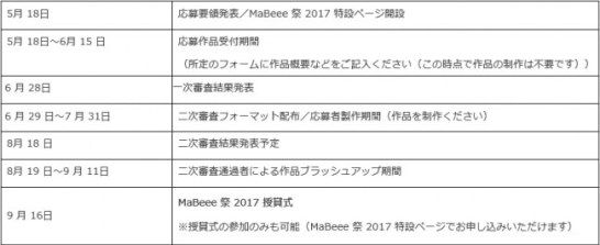 「MaBeee 祭 2017」スケジュール