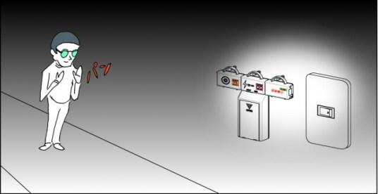 PIECE - 使用例:手を叩くとLEDが光り、スイッチの場所を教える