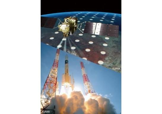 上:温室効果ガス濃度を観測する「いぶき2号」(イメージ)/下:H-IIAロケット37号機の打上げ