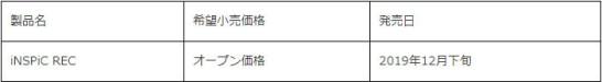 iNSPiC REC - 価格・販売開始日
