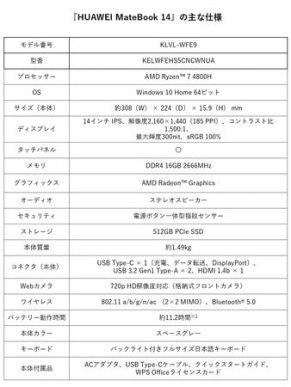 HUAWEI MateBook 14 - 主な仕様