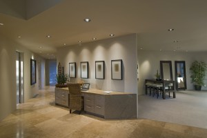 View of hallway along partition desk in luxury and modern home
