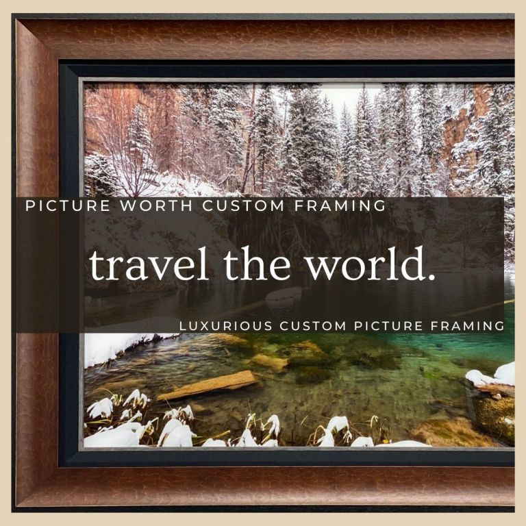 Picture Worth Custom Framing Colorado Winter with inner black liner, fillet, and frame