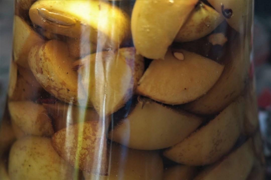 Ich verwende den kompletten Apfel, mit Schale und Gehäuse, bei uns im Garten ist alles ungespritzt.