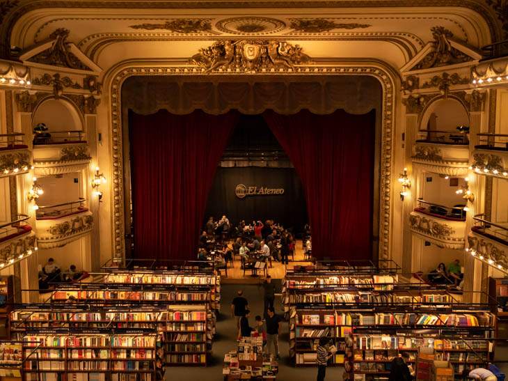 El Ateneo theatre with lines of bookshelves and balconies, Buenos Aires, Argentina