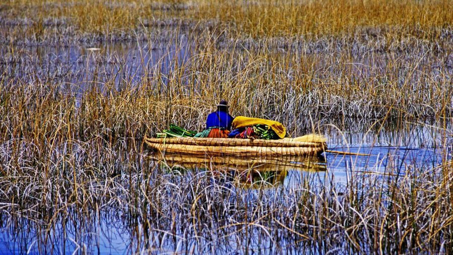 Boat on Lake Titicaca, Peru