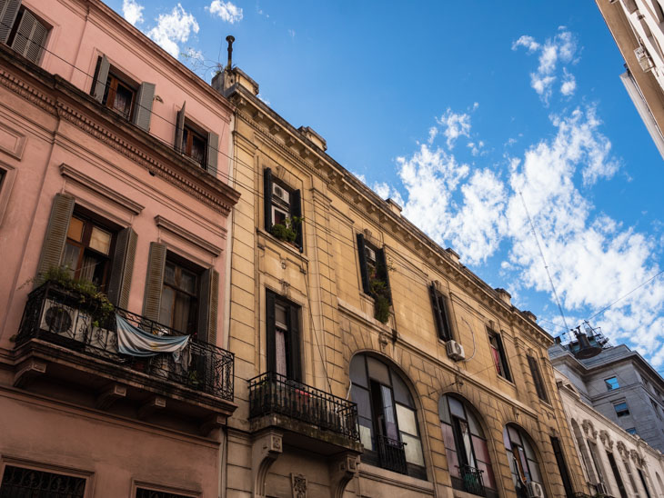 The old buildings of San Telmo against the sky, Buenos Aires, Argentina