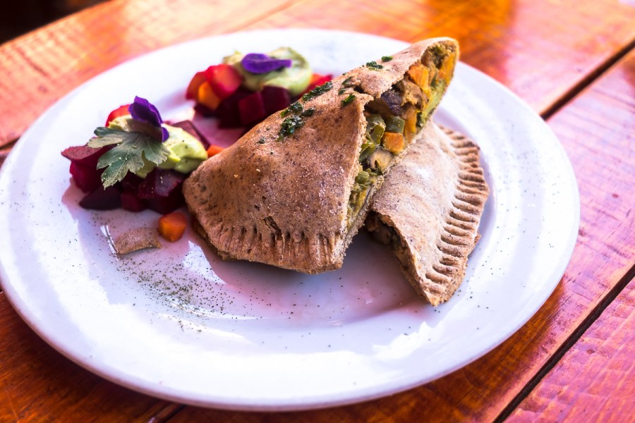Vegetarian food in Peru - Korma filled calzone in Cusco