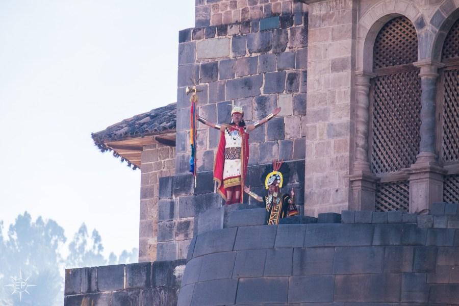 Inti Raymi festival - The Sapa Inca emerges at Coricancha.