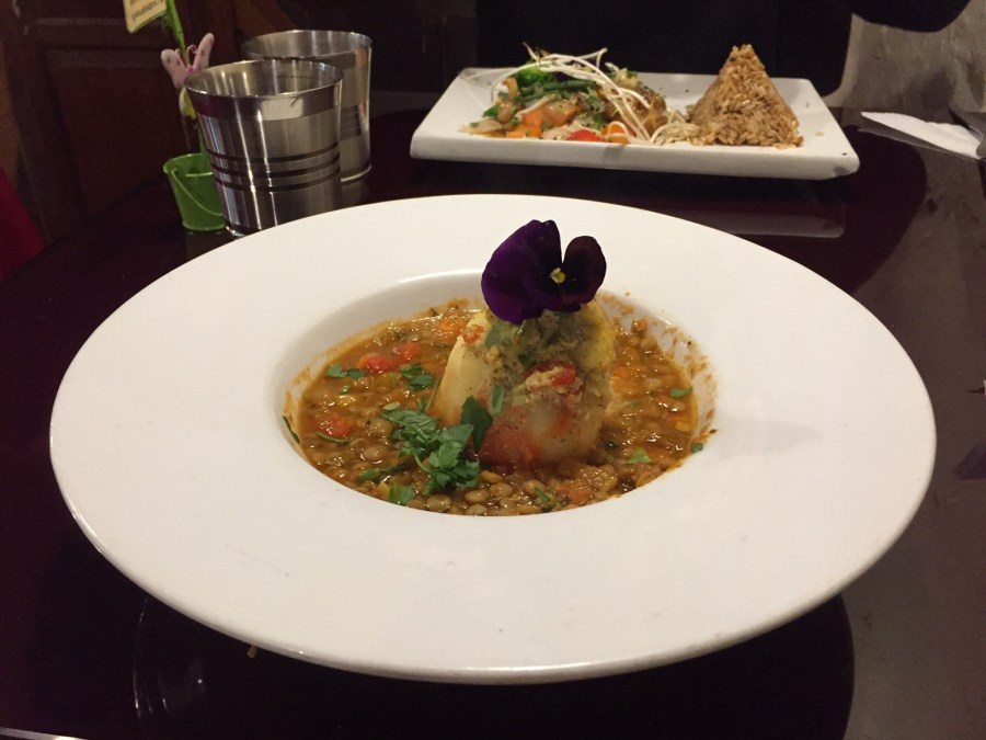 Vegetarian food in Peru - Lentil stew dish.
