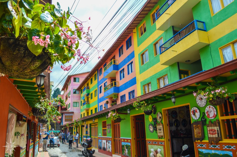 Colombia travel guide - Rainbow buildings in Guatape.