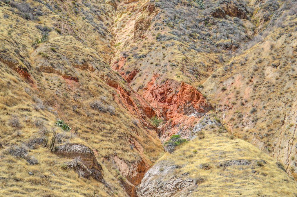 Colca Canyon trek - Red cliff face.