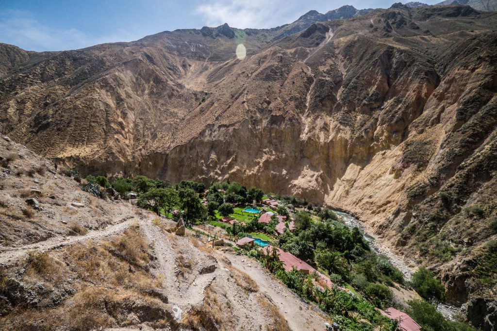 Colca Canyon trek - Steep trail from Sangalle to Cabanaconde.