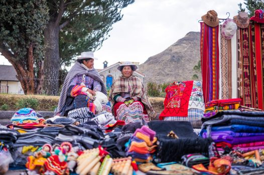 Homestay tours in Colca Canyon - Local women at Yanque market.