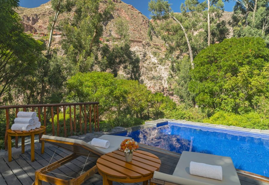 Luxury hotels in Sacred Valley - Outdoor pool terrace at Tambo del Inka Libertador.
