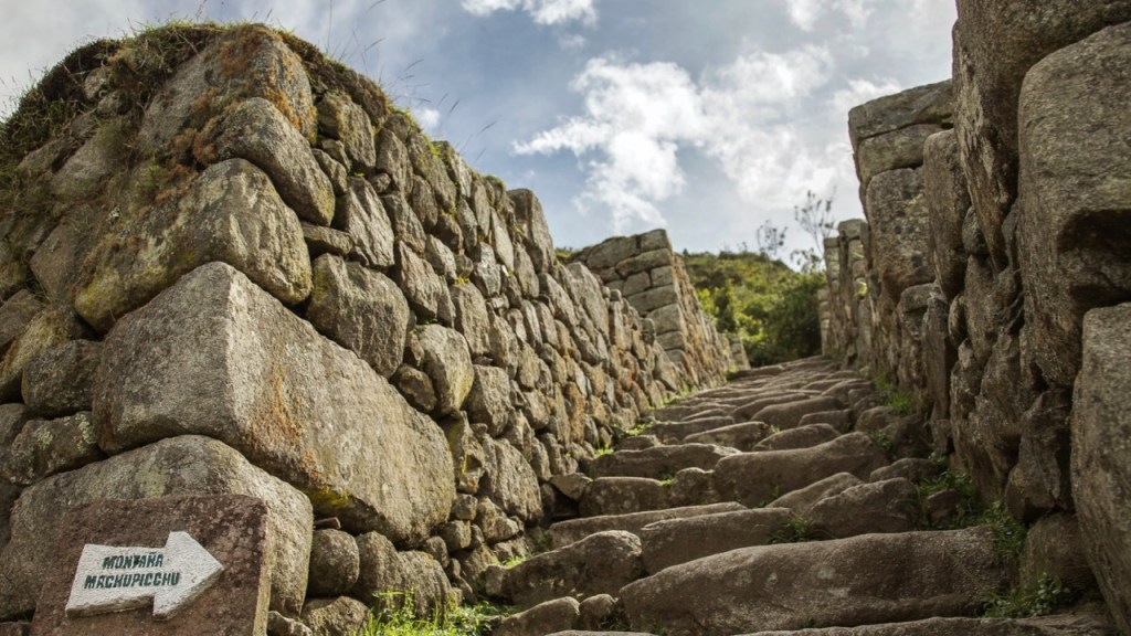 Entrance to the trail leading on the top of mountain of Machu Picchu