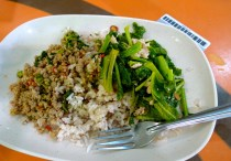 From the MBK food court: pork with basil, jasmine and red rice, amazingly good gai lan.