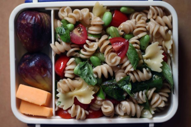 Whole-wheat and regular pasta salad, figs, cheddar.