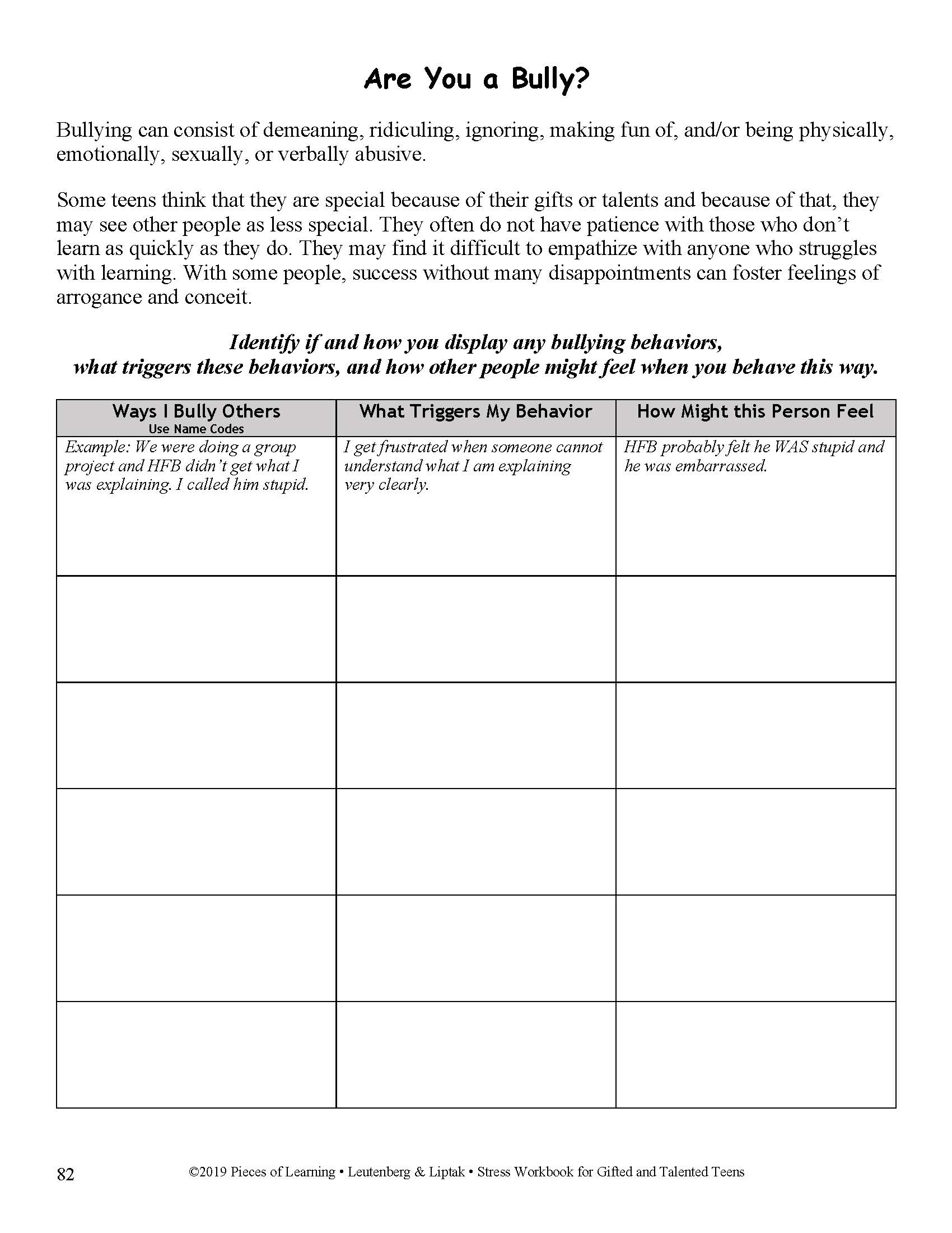 Stress Workbook For G T Teens Pieces Of Learning