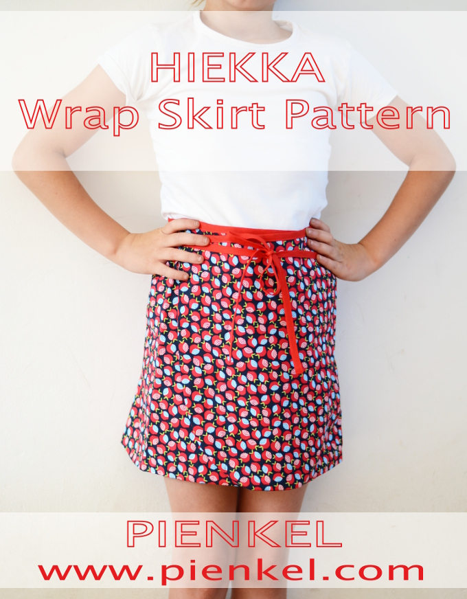 HIEKKA Wrap Skirt Pattern by Pienkel, a versatile pattern, available in sizes 2y-16y