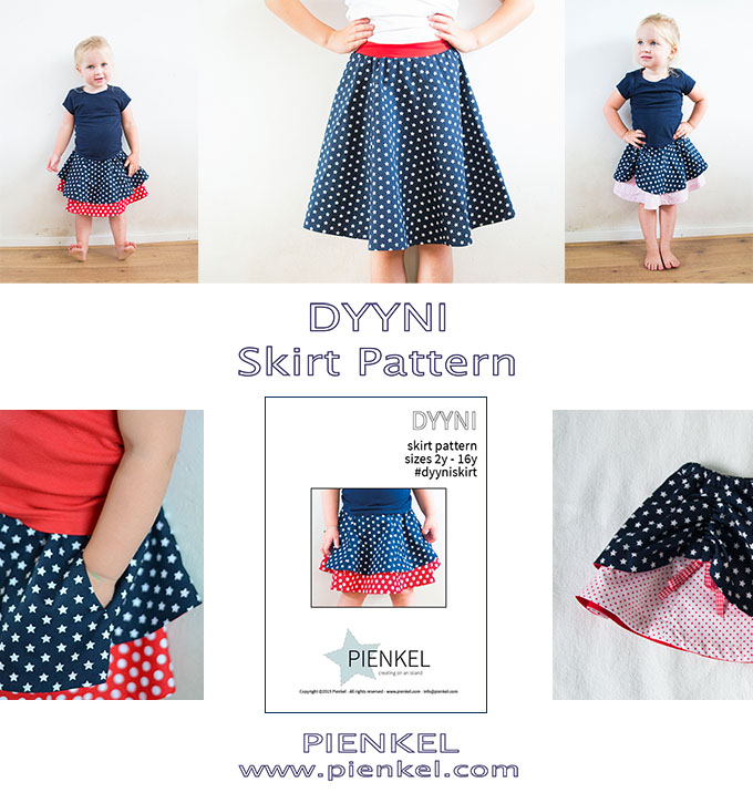 DYYNI skirt pattern in size 2y - 16y by Pienkel. Available as a pdf in English and Dutch. www.pienkel.com