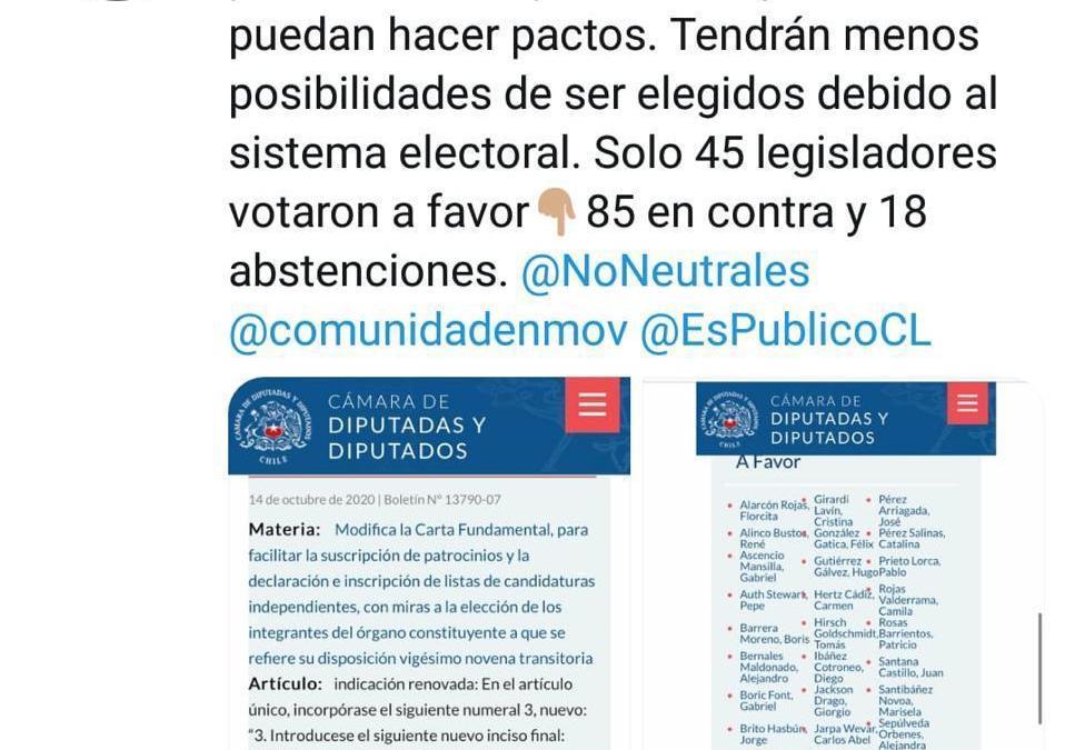 La Cámara de Diputados rechaza aceptar que los independientes formen pactos para presentar lista de candidatos
