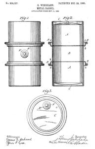 Metal barrel patent drawing, 1905. From US Patent Office website