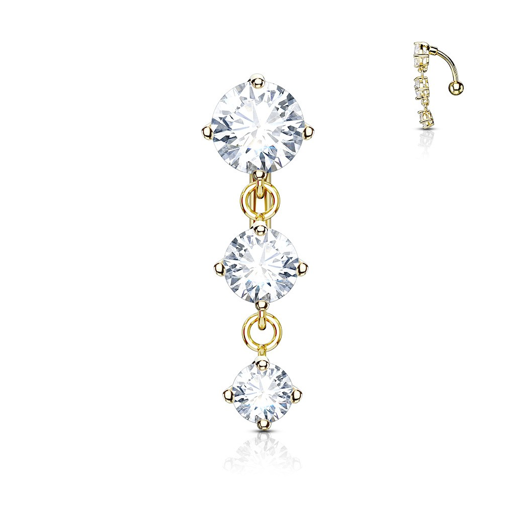 Reversed Belly Bar With Three Clear Prong Set Crystals