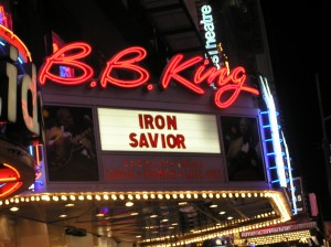 b.b. king blues club marquee, iron savior marquee