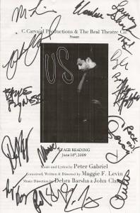 """Us"" Program Signed by Cast, Creators, & Band"